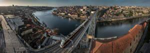 Фотография Португалия Портус Кале Панорама Речка Мост Поезда Дома river Douro