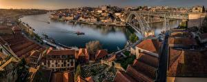 Фото Португалия Порту Реки Мосты Здания Город river Douro, Dom Luís I Bridge Города