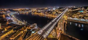 Фото Португалия Портус Кале Реки Мост Дома Панорама Город Dom Luís I Bridge, river Douro