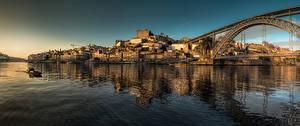 Обои Португалия Портус Кале Реки Мосты Дома Панорама river Douro, Dom Luís I Bridge