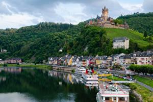 Фото Реки Замок Речные суда Германия Кохем Холм Moselle river, Rhineland-Palatinate город