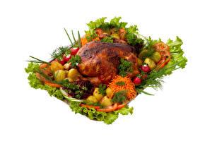 Фото Курица запеченная Овощи Редис Картофель Морковка Укроп Белом фоне