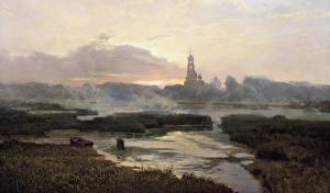 Обои Пейзаж Картина Церковь Рассветы и закаты Озеро Лодки Туман Alexander Afonin