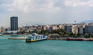 Картинка Корабль Причалы Греция Athens город