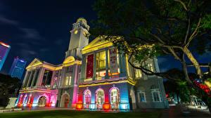 Обои Сингапур Здания Часы Ночью Raffles Place