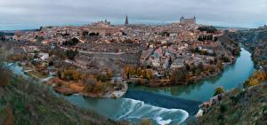 Картинки Испания Речка Толедо Сверху Castile-La Mancha, Tagus river Города