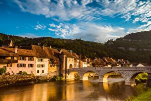 Картинки Рассвет и закат Дома Речка Мосты Швейцария St. Ursann, Doubs river, Jura город
