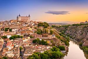 Фотографии Рассвет и закат Испания Речка Толедо Замки Castile-La Mancha, Tagus river город