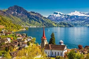 Фотографии Швейцария Озеро Речные суда Горы Lake Lucerne, Weggis, Lucerne County Города