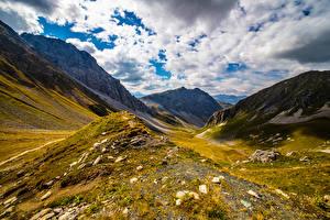 Фото Швейцария Горы Альпы Облака Graubünden Природа