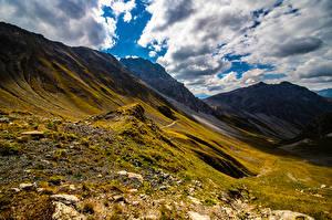 Обои Швейцария Гора Альп Облако Graubünden Природа