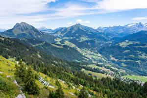 Картинки Швейцария Горы Дома Альпы Долина Leysin, Vaud Природа