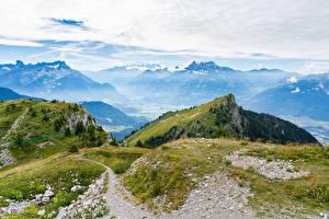 Фото Швейцария Горы Альп Мхом Leysin, Vaud Природа