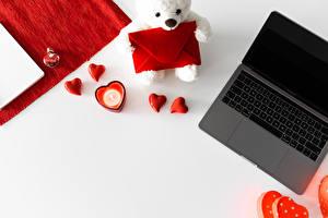 Фото Мишки День всех влюблённых Ноутбуки Сердца Конверт Шаблон поздравительной открытки