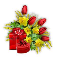 Картинка Тюльпан День святого Валентина Коробка Подарки Сердце Белый фон