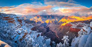 Обои США Парки Гранд-Каньон парк Скала Снег Облака Каньон Arizona