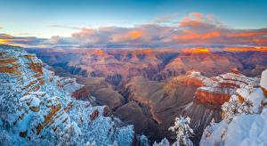Фото Америка Парк Гранд-Каньон парк Пейзаж Каньон Утес Снеге Облачно Arizona