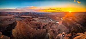 Фото Америка Парки Реки Рассветы и закаты Пейзаж Панорама Каньон Солнце Dead Horse Point State Park, Utah Природа