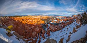 Фотографии Штаты Парк Пейзаж Панорамная Каньона Скала Снега Bryce Canyon National Park, Utah Природа