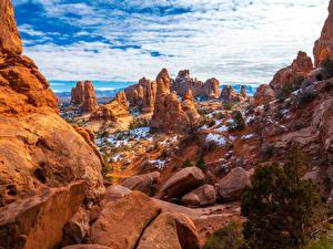 Фото США Парки Камни Скала Облако Arches National Park Природа