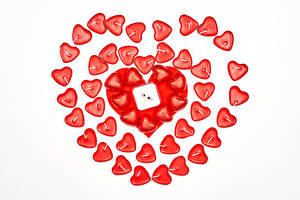 Обои День всех влюблённых Свечи Белый фон Серце Продукты питания
