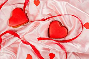 Фотография День святого Валентина Печенье Вдвоем Дизайн Серце Ленточка Пища