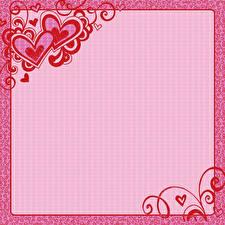 Фотографии День святого Валентина Сердце Шаблон поздравительной открытки Розовый