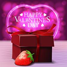 Картинка День всех влюблённых Клубника Слово - Надпись Английская Подарки Сердца