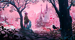 Обои Зима Собака Птица Замки Рисованные Снегу Деревьев Девочка