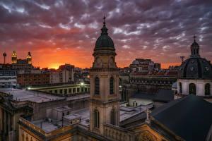 Фото Аргентина Вечер Здания Башня Облака Buenos Aires