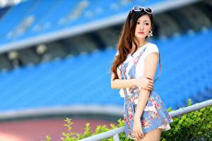 Картинка Азиатки Боке Поза Платье Руки Смотрят