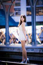 Фотография Азиаты Размытый фон Позирует Платья Ноги Смотрит молодые женщины