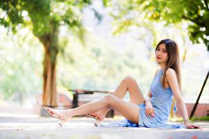 Обои Азиатка Боке Сидящие Платье Ноги Смотрят молодые женщины