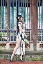 Фотографии Азиаты Поза Платье Ног Туфли Красивый девушка