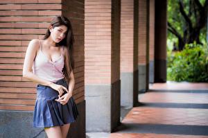 Обои Азиаты Поза Юбки Майка Взгляд Размытый фон Девушки