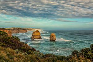 Фотографии Австралия Берег Скале Облака Princetown Природа