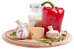 Картинки Перец овощной Чеснок Сыры Грибы Банки Белый фон Пища