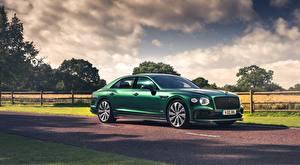 Картинка Bentley Седан Зеленых Сбоку Flying Spur, Styling Specification, UK-spec, 2020