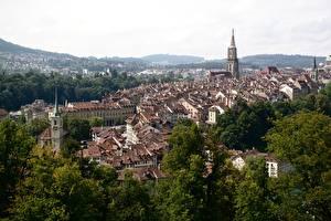 Обои Берн Швейцария Здания Деревья Сверху город