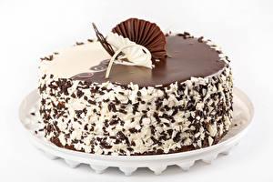 Фотографии Торты Шоколад Белый фон Дизайн Еда