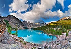 Фотографии Канада Озеро Парк Горы Лес Пейзаж Банф Moiraine, Alberta
