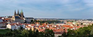 Обои Замки Дома Чехия Прага Панорама Горизонт Prague Castle Города картинки