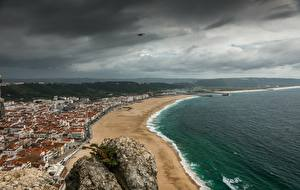 Фотография Побережье Португалия Пляж Тучи Горизонт Сверху Nazare, Leiria County Природа