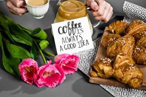 Обои для рабочего стола Кофе Круассан Тюльпаны Слова Английская Еда Цветы