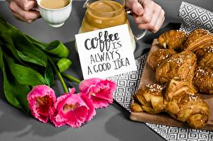 Картинка Кофе Круассан Тюльпаны Слова Английская Еда