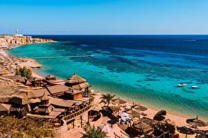 Картинки Египет Берег Курорты Море Залива Пляж South Sinai, Sharm el-Sheikh Города