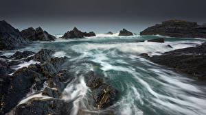 Фотографии Англия Берег Скала Devon Природа