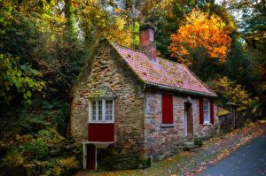 Обои Англия Дома Осень Каменные Durham city Города картинки