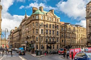Картинка Англия Дома Люди Улице Newcastle город