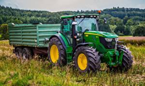 Картинки Поля Трактор Зеленая Траве John Deere 6150r, 4WD